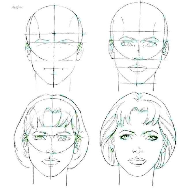 Рисунки по схемам лицо